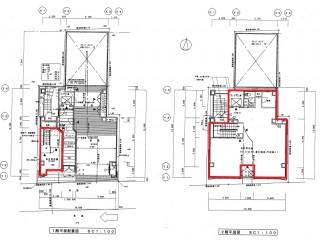 白川本町ビル1-2階平面図