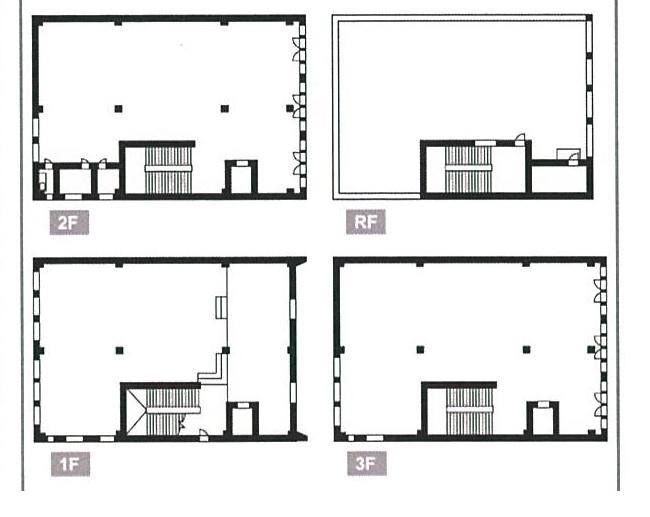矢場町店舗ビル:1階~R階274.42坪(間取)