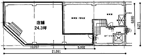 【御幸本町ビル地下1階:24.3坪】(間取)