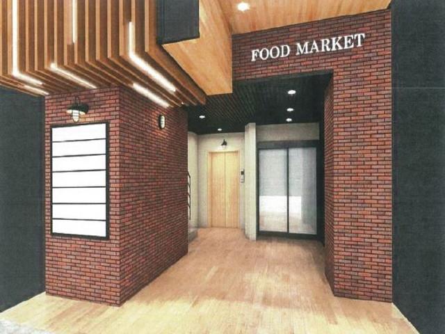 椿町Food Market 共用部パース