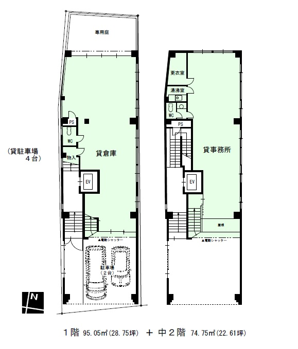 エイテックイヅミ1-2階間取り図