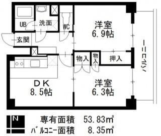シーアイマンション南大津902号室間取図