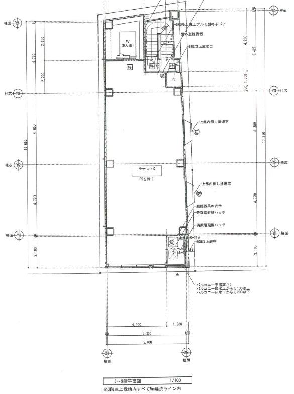 トラスト名駅ビル3-9階平面図